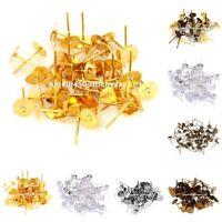 Flat Earring Earrings Post Stud Jewelry Making Findings Silver/Golden 6mm 100pcs