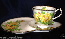 ROYAL ALBERT TEA ROSE YELLOW DESSERT SNACK PLATE & CUP SET TENNIS PLATE GOLD