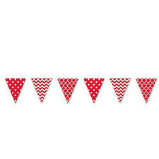 Amscan Apple Red Dots & Chevron Large Pennant Banner 4m