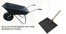 "85L BLACK WHEELBARROW WITH 14"" PNEUMATIC WHEEL AND FREE MUCKING OUT SHOVEL"
