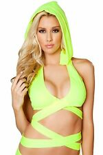 Sexy Neon Yellow Detachable Hoodie Top Clubwear Gogo Dancer Rave Raver Outfit