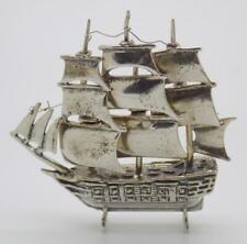 Vintage Solid Silver Italian Made Large Galleon Ship Miniature Stamped* Figurine