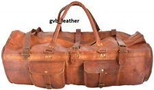 Vintage Brown Upmarket Genuine Leather Men's Travel Duffel Gents Luggage Gym Bag