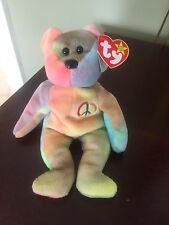 Rare Ty Beanie Baby Peace Bear Original Collectible with ALL Tag Errors