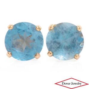 Estate 1.00ct Blue Topaz 14K Gold Stud Earrings NR