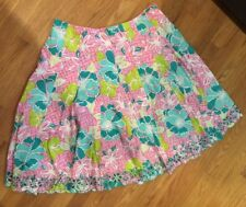 EUC HTF Women's White Tag Lilly Pulitzer Floral Pink Turquoise Green Skirt 16
