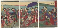 Original Japanese Woodblock Print, Ukiyo-e, Chikanobu, Enoshima, Japan, Beauty