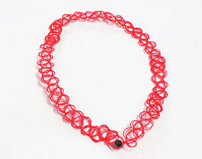 80s 90s Vintage Stretch Tattoo Choker Necklace Retro Gothic Punk Multi Choice Red