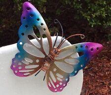 Butterfly Fence Hanger Garden Decor Yard Outdoor Lawn Wall Art Metal Dragonfly
