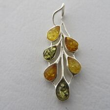 Genuine, Multi-Color BALTIC AMBER Drop Leaf Pendant, 925 STERLING SILVER *0249