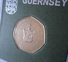 2003 Guernsey Queen's Coronation Crown Golden Jubilee 50p Coin (BU) Gift in Case