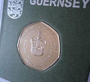 2003 Guernsey Queen's Coronation Crown Golden Jubilee 50p Coin (BU UNC) in Case