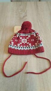 C&A Baby Mädchen Mütze in Rot Weiß Grau Schwarz Gr. 46/47   74cm   Neu + Etikett