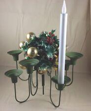 Vintage Mcm Metal Candelabra 8 Candle Holder Olive Green Christmas