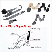 Retractable Grey 3 Point Seat Belt Lap & Diagonal Belt Extra Long Nylon Straps