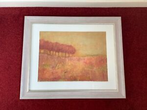 Trees Red Orange Yellow Scene Acrylic Painting Framed Trees Picture Grey Frame