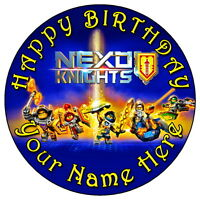 """NEXO KNIGHTS BIRTHDAY PARTY 7.5"""" PERSONALISED ROUND EDIBLE ICING CAKE TOPPER"""