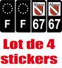 4 Autocollants 2 paires Stickers style Auto Plaque Black Edition noir F+ 67