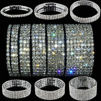 Elastic Crystal Rhinestone Wristband Bangle Stretch Bracelet Wedding Bridal gift