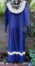 Vintage~Eileen West~Sailor DRESS~Plunge Button Back~NAVY Linen+Cotton~10 S M~HTF