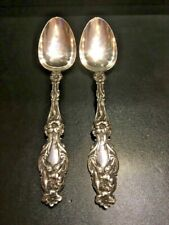 """TWO(2) WHITING """"LILY"""" STERLING SILVER TABLE SERVING SPOONS"""