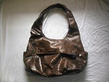 BUENO COLLECTION PURSE HOBO SHINY BROWN FAUX Alligator Croc Shoulder bag