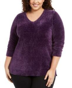 $50 Karen Scott Plus Size V-Neck Chenille Sweater Purple Size 2X