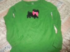 euc Gymboree green scotty dog applique long sleeve top girl 5 free ship USA
