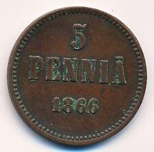 1866 Imperial Russia Finland 5 Pennia RARER YEAR COPPER COIN in Nice XF Grade
