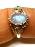 925 Sterling Silver Oval Rainbow Moonstone Boho Patterned Ring (8 x 6 mm) Size R