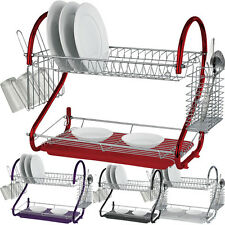 2 TIER CHROME PLATE DISH RACK DRAINER DRIP TRAY PLATES CUTLERY CUP HOLDER COLOUR