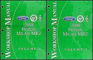 2008 Fusion Milan Mkz Tienda Manual Juego Ford Lincoln Mercury Taller Servicio