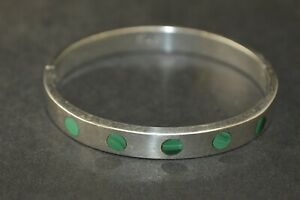 Chic Sterling Silver Malachite Inlay Bangle Bracelet - 39g