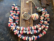 """Vintage Japan Stamped Mother of Pearl 3 Strand Necklace & Earrings Set, 13"""""""
