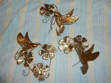Home Interior Brass Flower and Hummingbird Plaques Set of Three