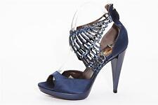 ROBERTO CAVALLI Womens Blue Satin Jeweled Ankle High Heel Open-Toe Pump 9-39 NEW