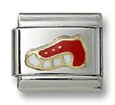 New Authentic Italian Charm Link Gold Enamel Red Sport Shoe 9mm Fit Bracelet