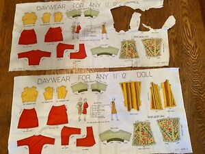 """Vintage 1960""""s Cloth Doll Pattern. For any 11-12"""" Doll. Cut & Sew 36x17"""""""