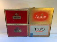 Vintage Cigar Boxes Lot Of 4, 2 ROI-TAN, TOPPS, Aurelia Westerns
