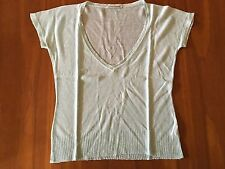 SCANLAN & THEODORE Pale Ice Blue 100% Linen V-Neck Short Sleeve Delicate Top S/M