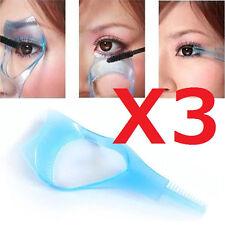 3X 3in1 Eyelash Mascara Applicator Guard Brush Comb Makeup Tool Blue USA Shipper