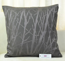 """CUSHION COVER 17""""x17"""" 43cm sq Woven Polyester Trees Charcoal Lilac"""