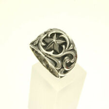 Sterling Silver 925 Oxidized Texas Lone Star Silver Wide Band Ring Women Size 7
