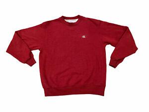Retro Champion Eco Classic Logo Medium Gray Pullover Crewneck Sweatshirt Red