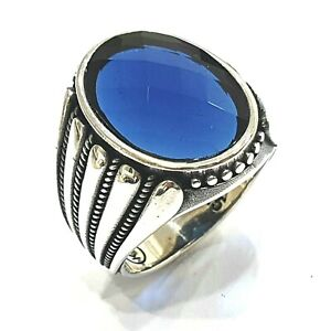 925 Sterling Silver Handmade Blue Sapphire Size:R Solid Unique Turkish Men Ring