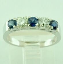 14k Solid White gold Natural Diamond & Sapphire Ring 0.76 ct anniversary band