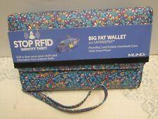Mundi® My Big Fat Wallet Wristlet NWT RFID SAFEKEEPER Turquoise Floral Print $44