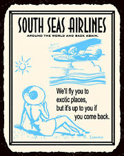 (VMA-L-6419) South Seas Air Vintage Metal Art Beach Airplane Retro Tin Sign