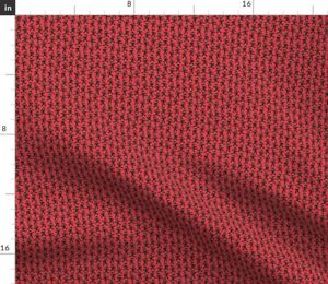 Small Trendy Ninja Micro Red And Black Martial Spoonflower Fabric by the Yard