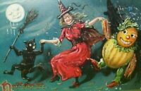 Halloween Postcard Tucks Witch Dances Goblin Black Cat Vintage Gothic Series 150